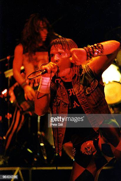 Bruce Dickinson of Iron Maiden performs on stage at Hammersmith Odeon on May 26th 1983 in London United Kingdom