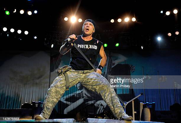 Bruce Dickinson of Iron Maiden performs on stage at The Soundwave Music Festival at Olympic Park on 27th February 2011 in Sydney Australia