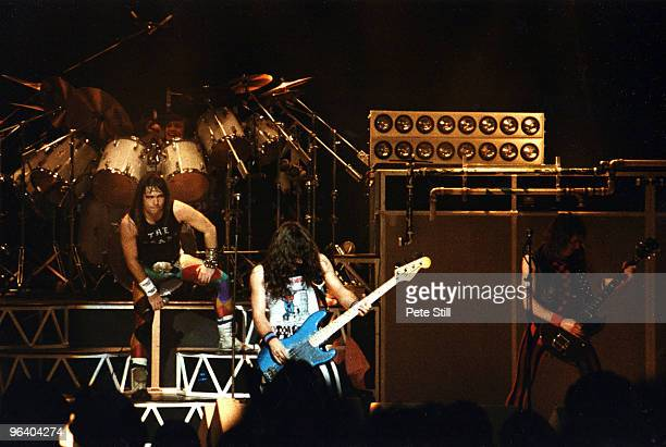Bruce Dickinson Steve Harris and Adrian Smith of Iron Maiden perform on stage at Hammersmith Odeon on May 26th 1983 in London United Kingdom