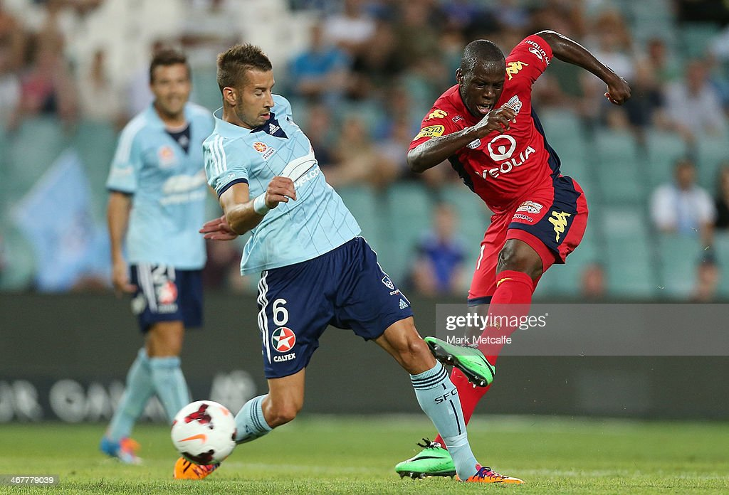 Bruce Djite of Adelaide scores a goal during the round 18 ALeague match between Sydney FC and Adelaide United at Allianz Stadium on February 8 2014...
