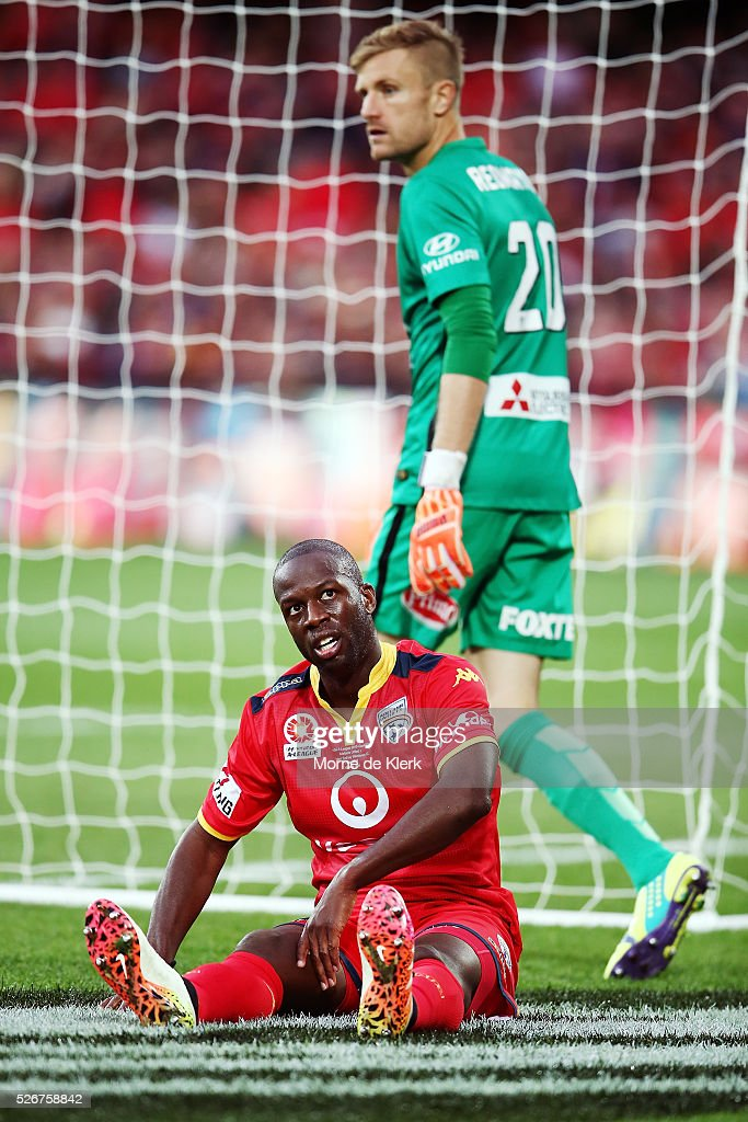 Bruce Djite of Adelaide United and Andrew Redmayne of the Wanderers of the Wanderers look on during the 2015/16 A-League Grand Final match between Adelaide United and the Western Sydney Wanderers at the Adelaide Oval on May 1, 2016 in Adelaide, Australia.