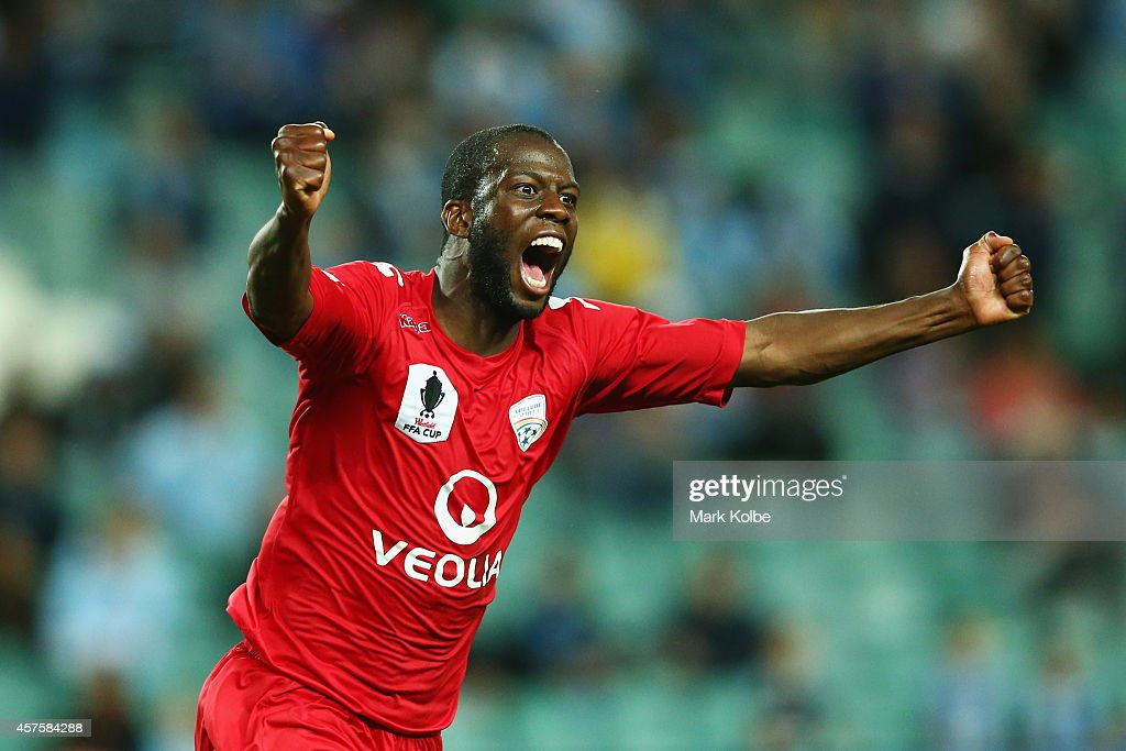 Bruce Djite of Adelaide United celebrates after scoring a goal during the FFA Cup Quarter Final match bewtween Sydney FC and Adelaide United at...