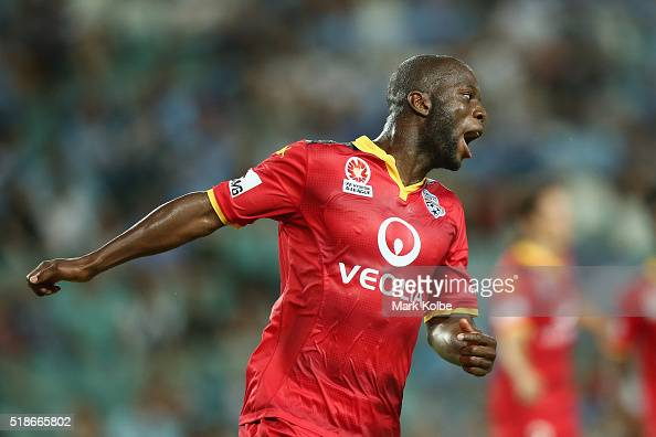 Bruce Djite of Adelaide United celebrates scoring a goal during the round 26 ALeague match between Sydney FC and Adelaide United at Allianz Stadium...