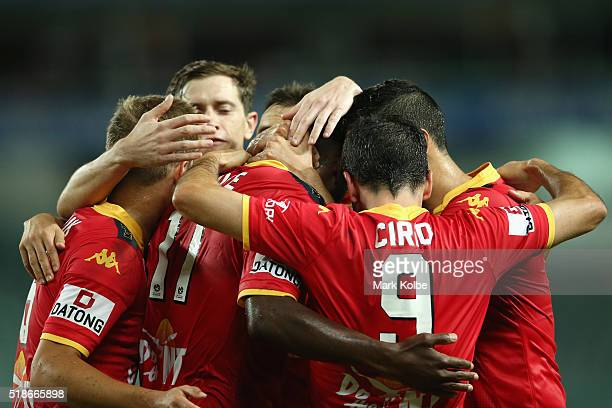 Bruce Djite of Adelaide United celebrates with his team after scoring a goal during the round 26 ALeague match between Sydney FC and Adelaide United...