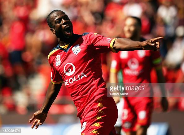 Bruce Djite of United celebrates after scoring a goal during the round 16 ALeague match between Adelaide United and Newcastle Jets at Coopers Stadium...