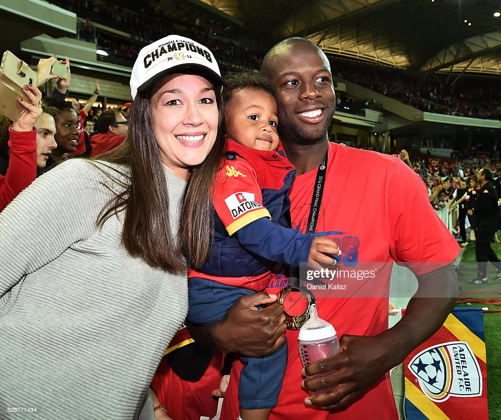 Bruce Djite of United celebrates after United defeated the Wanderers after the 2015/16 A-League Grand Final match between Adelaide United and the Western Sydney Wanderers at Adelaide Oval on May 1, 2016 in Adelaide, Australia.