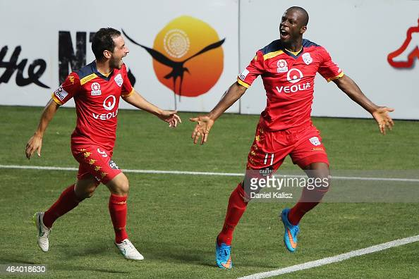 Bruce Djite of United celebrates with Sergio Cirio of United after he scored during the round 18 ALeague match between Adelaide United and Western...
