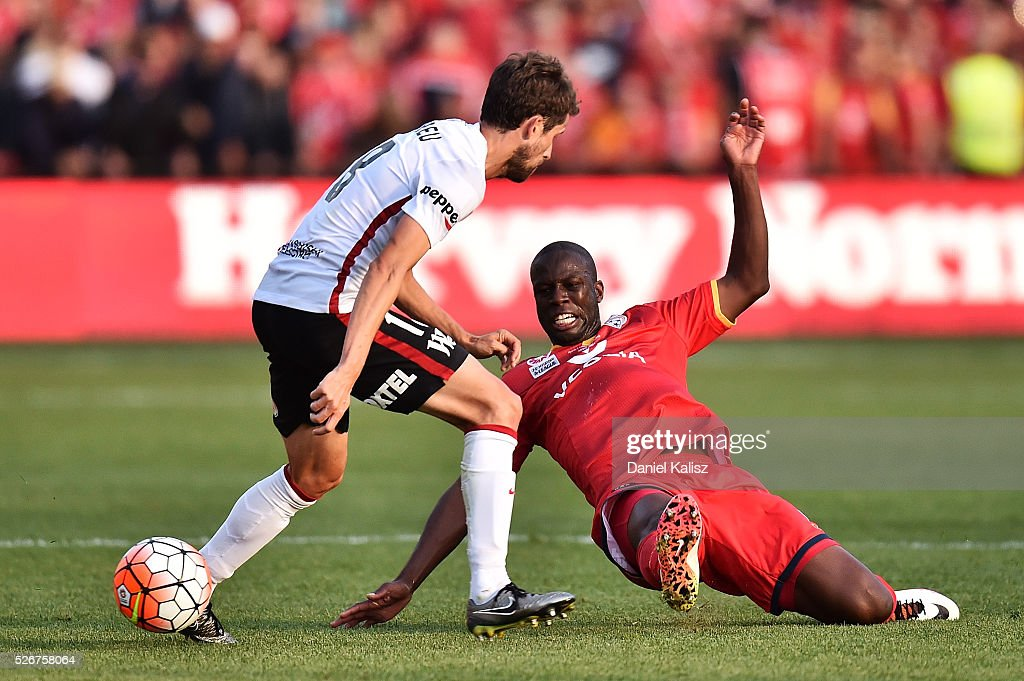 Bruce Djite of United competes for the ball during the 2015/16 A-League Grand Final match between Adelaide United and the Western Sydney Wanderers at Adelaide Oval on May 1, 2016 in Adelaide, Australia.