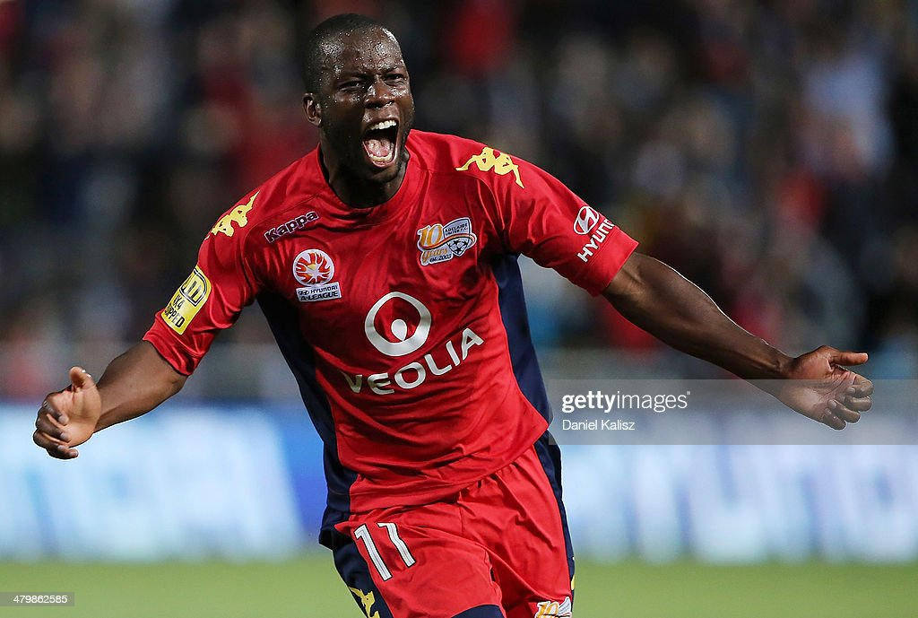 Bruce Djite of United reacts after scoring during the round 24 A-League match between Adelaide United and Sydney FC at Coopers Stadium on March 21, 2014 in Adelaide, Australia.