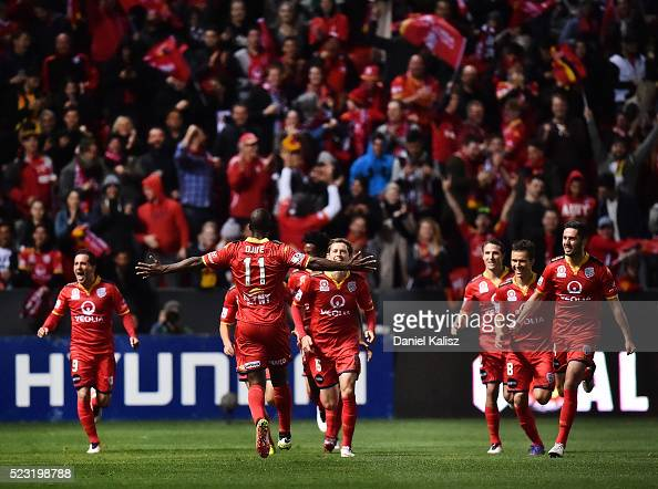 Bruce Djite of United reacts after scoring his second goal of the match during the ALeague Semi Final match between Adelaide United and Melbourne...