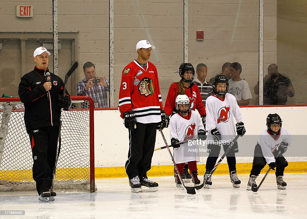 Bruce Driver and Seth Jones attend the 2013 NHL Draft - Top Prospects Clinic at Prudential Center on June 29, 2013 in Newark, New Jersey.