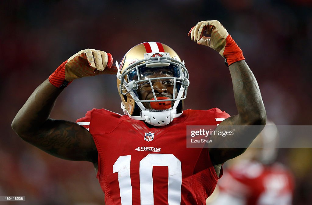 <a gi-track='captionPersonalityLinkClicked' href=/galleries/search?phrase=Bruce+Ellington&family=editorial&specificpeople=7405384 ng-click='$event.stopPropagation()'>Bruce Ellington</a> #10 of the San Francisco 49ers reacts after he returned a punt against the San Diego Chargers during their NFL preseason game at Levi's Stadium on September 3, 2015 in Santa Clara, California.