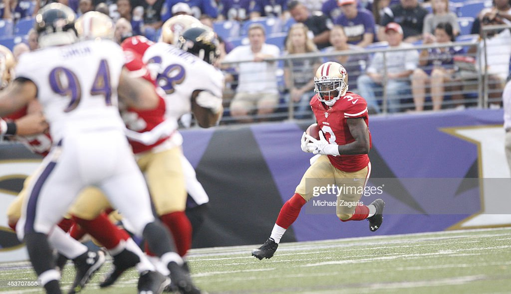 <a gi-track='captionPersonalityLinkClicked' href=/galleries/search?phrase=Bruce+Ellington&family=editorial&specificpeople=7405384 ng-click='$event.stopPropagation()'>Bruce Ellington</a> #3 of the San Francisco 49ers returns a kickoff during the game against the Baltimore Ravens at M&T Bank Stadium on August 7, 2014 in Baltimore, Maryland. The Ravens defeated the 49ers 23-3.