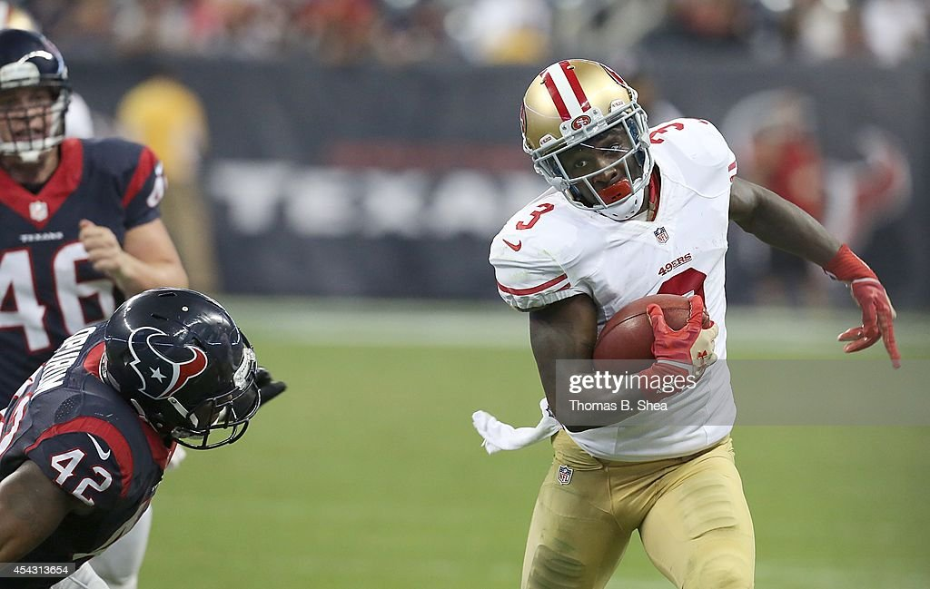 <a gi-track='captionPersonalityLinkClicked' href=/galleries/search?phrase=Bruce+Ellington&family=editorial&specificpeople=7405384 ng-click='$event.stopPropagation()'>Bruce Ellington</a> #3 of the San Francisco 49ers runs past Toben Opurum #42 of the Houston Texans in the second half in a pre-season NFL game on August 28, 2014 at NRG Stadium in Houston, Texas. The 49ers won 40 to 13.