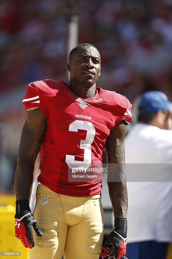 <a gi-track='captionPersonalityLinkClicked' href=/galleries/search?phrase=Bruce+Ellington&family=editorial&specificpeople=7405384 ng-click='$event.stopPropagation()'>Bruce Ellington</a> #3 of the San Francisco 49ers stands on the sideline during the game against the Denver Broncos at Levi Stadium on August 17, 2014 in Santa Clara, California. The Broncos defeated the 49ers 34-0.