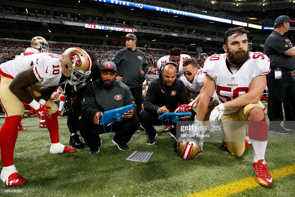 Bruce Ellington #10, Special Teams Assistant Coach Richard Hightower, Special Teams Coordinator Thomas McGaughey Jr., Shayne Skov #56 and Nick Bellore #50 of the San Francisco 49ers kneel in the sideline during the game against the St. Louis Rams at the Edward Jones Dome on November 1, 2015 in St. Louis, Missouri. The Rams defeated the 49ers 27-6.