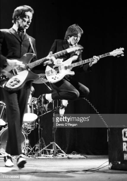 Bruce Foxton and Paul Weller of the Jam in concert at the Rainbow Theatre in London April 1977