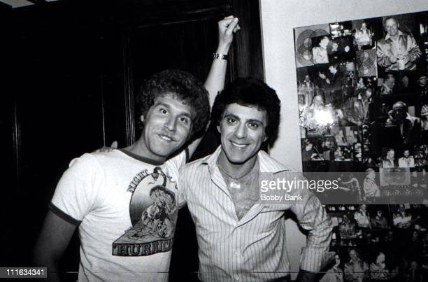 Bruce Goldberg and Frankie Valli during Frankie Valli Recording Session at Mediasound Studios 1977 at Mediasound Studios in New York City New York...