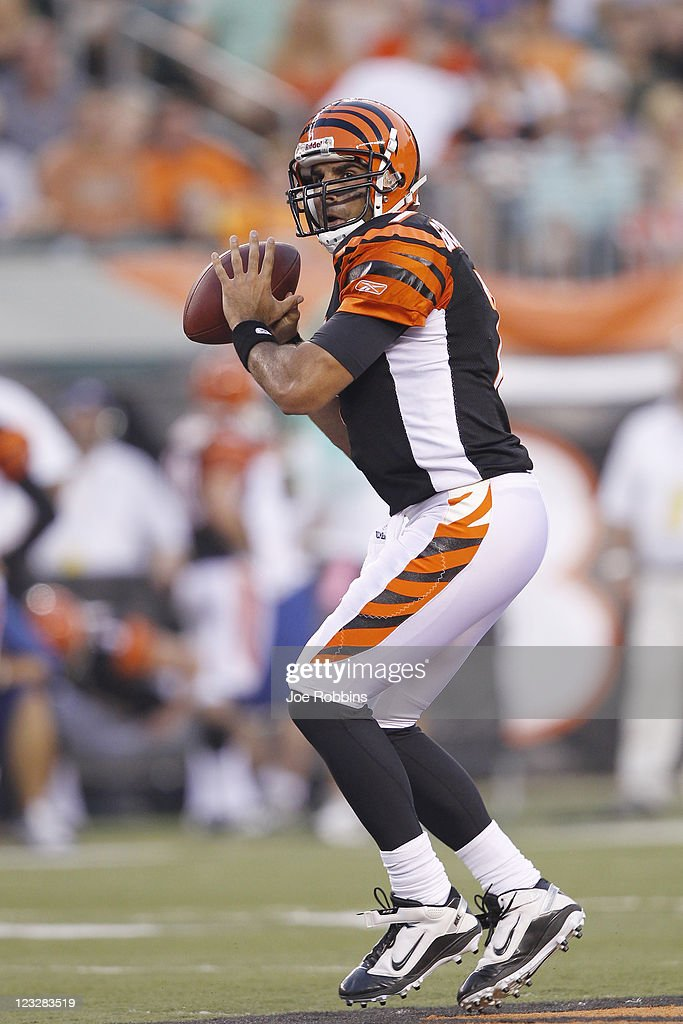 Bruce Gradkowski #7 of the Cincinnati Bengals looks to pass during the first half of an NFL preseason game against the Indianapolis Colts at Paul Brown Stadium on September 1, 2011 in Cincinnati, Ohio.