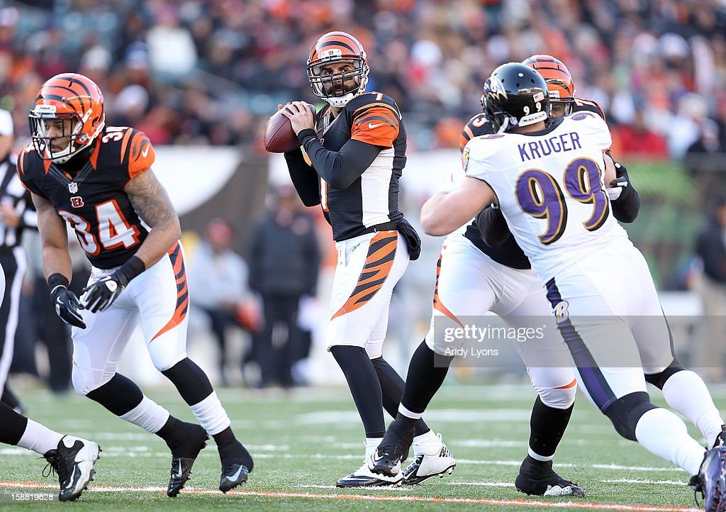 <a gi-track='captionPersonalityLinkClicked' href=/galleries/search?phrase=Bruce+Gradkowski&family=editorial&specificpeople=748513 ng-click='$event.stopPropagation()'>Bruce Gradkowski</a> #7 of the Cincinnati Bengals looks to throw the ball during the NFL game against the Baltimore Ravens at Paul Brown Stadium on December 30, 2012 in Cincinnati, Ohio.