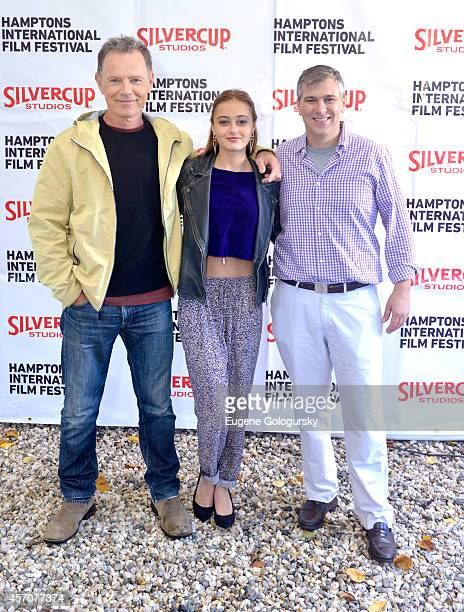 Bruce Greenwood Ella Purnell and Frank Hall Green attend the Chairmans Reception during the 2014 Hamptons International Film Festival on October 11...