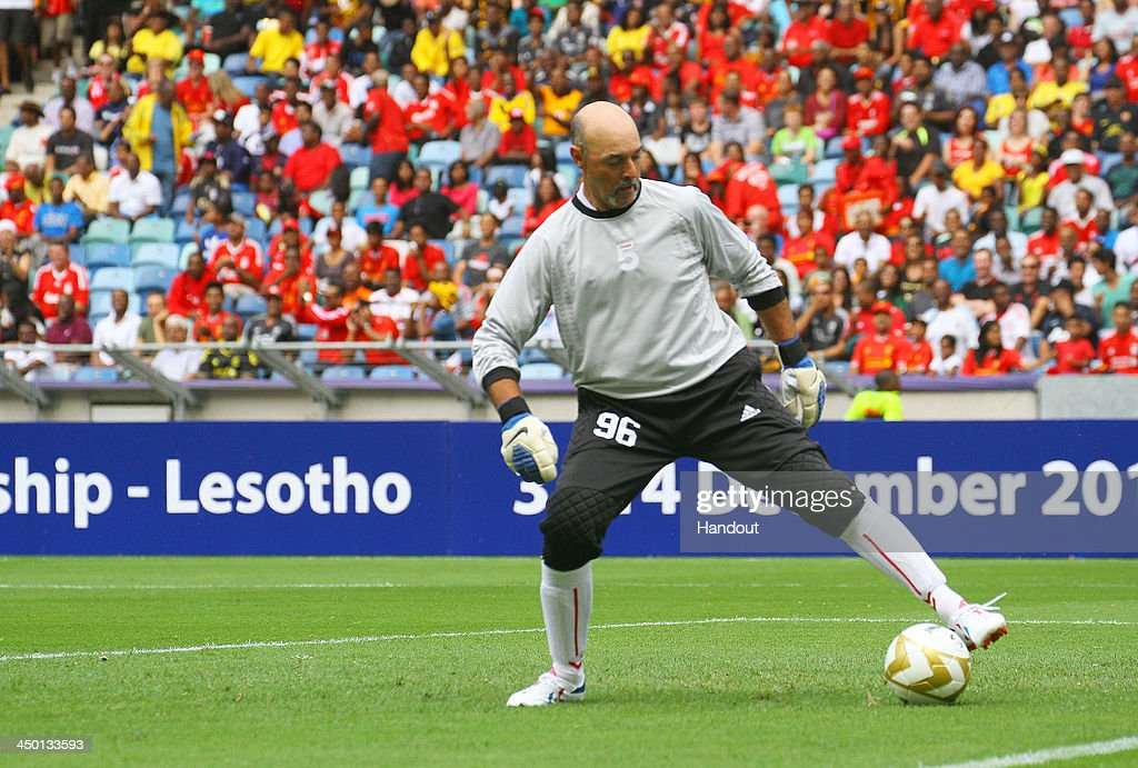 Bruce Grobbelaar during the Legends match between Liverpool FC Legends and Kaizer Chiefs Legends at Moses Mabhida Stadium on November 16, 2013 in Durban, South Africa.
