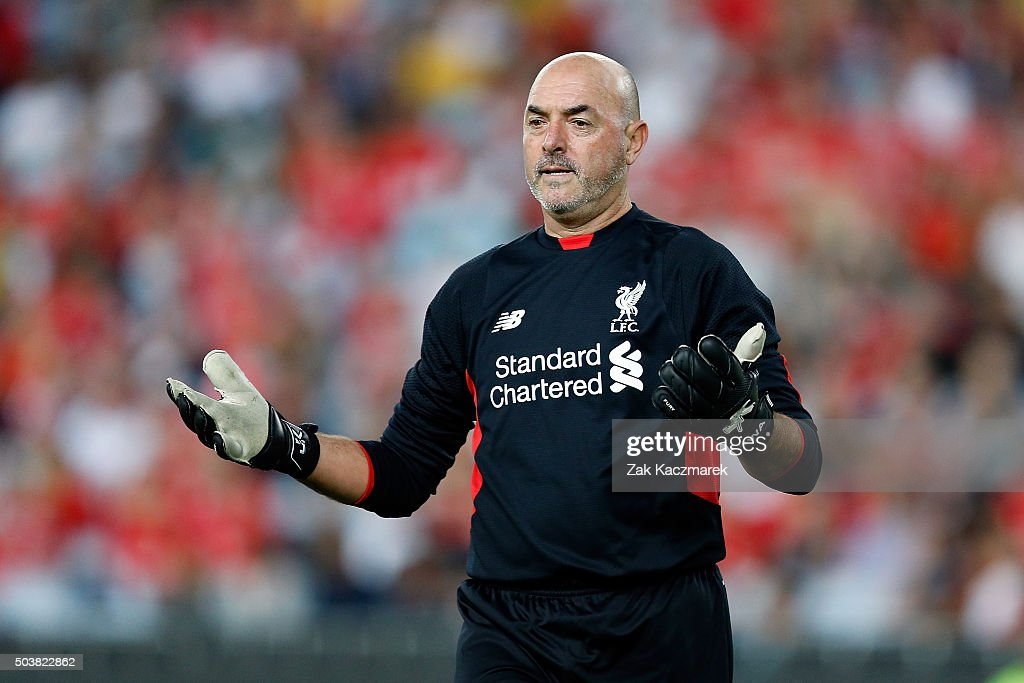 Bruce Grobbelaar of the Liverpool FC Legends reacts during the match between Liverpool FC Legends and the Australian Legends at ANZ Stadium on January 7, 2016 in Sydney, Australia.