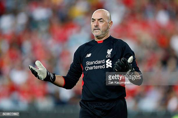 Bruce Grobbelaar of the Liverpool FC Legends reacts during the match between Liverpool FC Legends and the Australian Legends at ANZ Stadium on...
