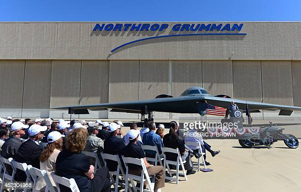 Bruce Hinds former chief test pilot amd first person to fly the B2 Stealth Bomber addresses the audience of Northrop Grumman employees at the...