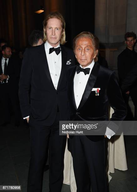 Bruce Hoeksema and Valentino Garavani attends the Elton John AIDS Foundation Commemorates Its 25th Year And Honors Founder Sir Elton John During New...