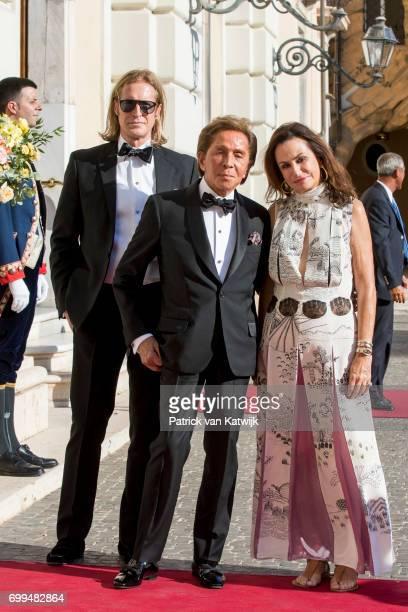 Bruce Hoekstra and Valentino Garavani attend a concert for President Sergio Mattarella performed by Dutch violinist Janine Jansen at the Palazzo...