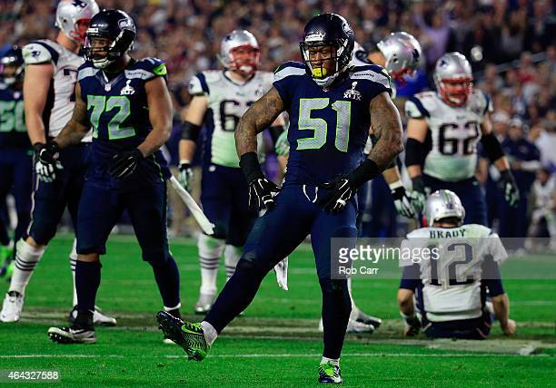 Bruce Irvin of the Seattle Seahawks reacts after a sack in the fourth quarter against the New England Patriots during Super Bowl XLIX at University...