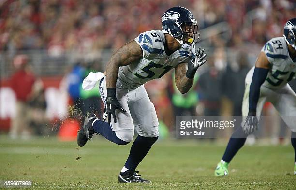 Bruce Irvin of the Seattle Seahawks takes his route against the San Francisco 49ers at Levi's Stadium on November 27 2014 in Santa Clara California