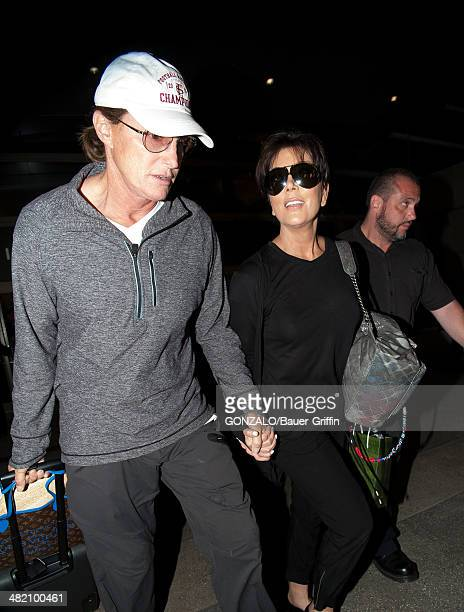 Bruce Jenner and Kris Jenner are seen at LAX on April 02 2014 in Los Angeles California