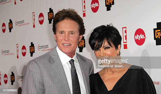 Bruce Jenner and Kris Jenner attend the Comcast Entertainment Group Television Critics Association Cocktail Reception at The Langham Hotel on January...