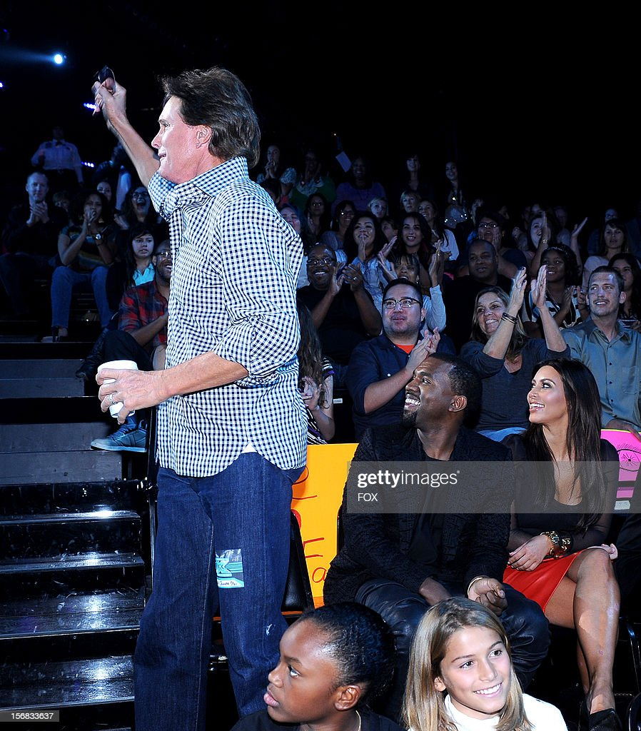 Bruce Jenner, Kanye West and Kim Kardashian in the audience at FOX's 'The X Factor' Season 2 Top 10 Live Performance Show on November 21, 2012 in Hollywood, California.