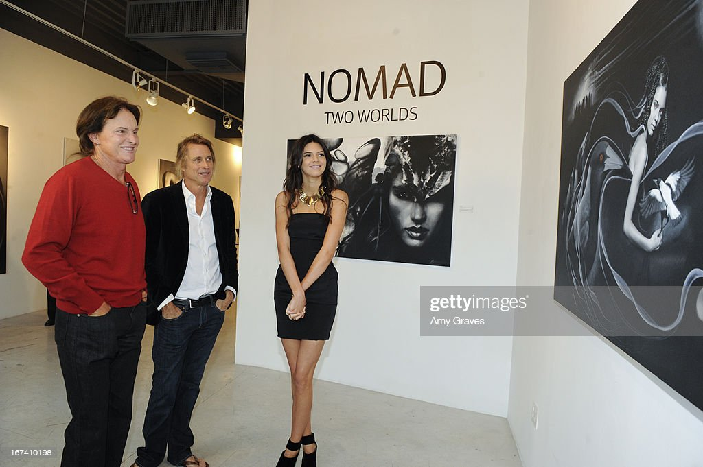 Bruce Jenner, Russell James and Kendall Jenner attend the Nomad Two Worlds and Russell James Private Reception at Guy Hepner Gallery on April 24, 2013 in Hollywood, California.