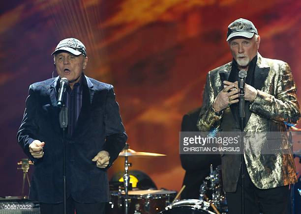 Bruce Johnston and Mike Love of 'The Beach Boys' perform after receiving the Golden Camera award for their life's work in Hamburg northern Germany on...