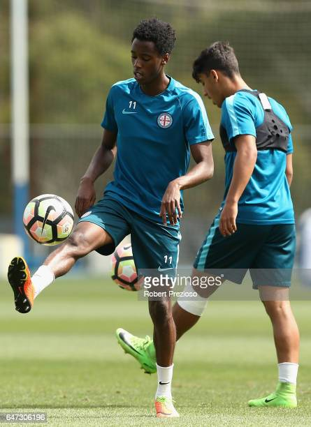Bruce Kamau controls the ball during a Melbourne City FC training session at City Football Academy on March 3 2017 in Melbourne Australia