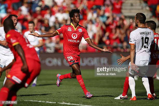 Bruce Kamau of Adelaide United celebrates after he scored a goal during the round 21 ALeague match between Adelaide United and the Brisbane Roar at...