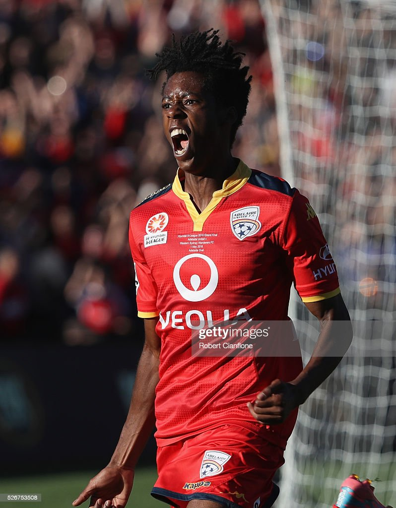 Bruce Kamau of Adelaide United celebrates after scoring a goal during the 2015/16 A-League Grand Final match between Adelaide United and the Western Sydney Wanderers at Adelaide Oval on May 1, 2016 in Adelaide, Australia.