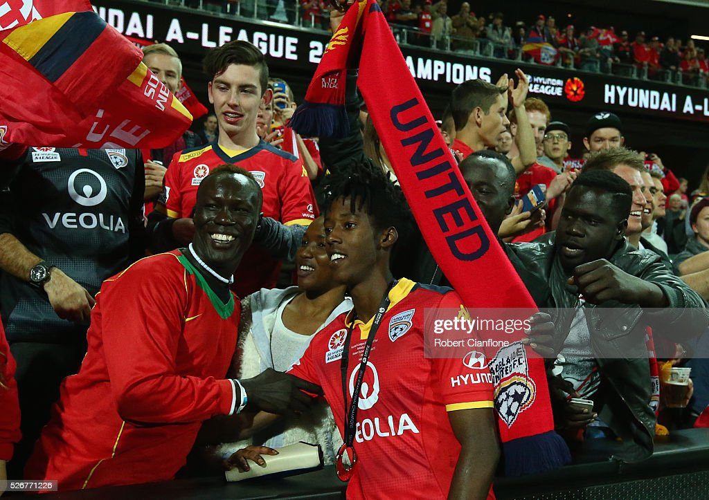 Bruce Kamau of Adelaide United celebrates after United defeated the Wanderers during the 2015/16 A-League Grand Final match between Adelaide United and the Western Sydney Wanderers at Adelaide Oval on May 1, 2016 in Adelaide, Australia.