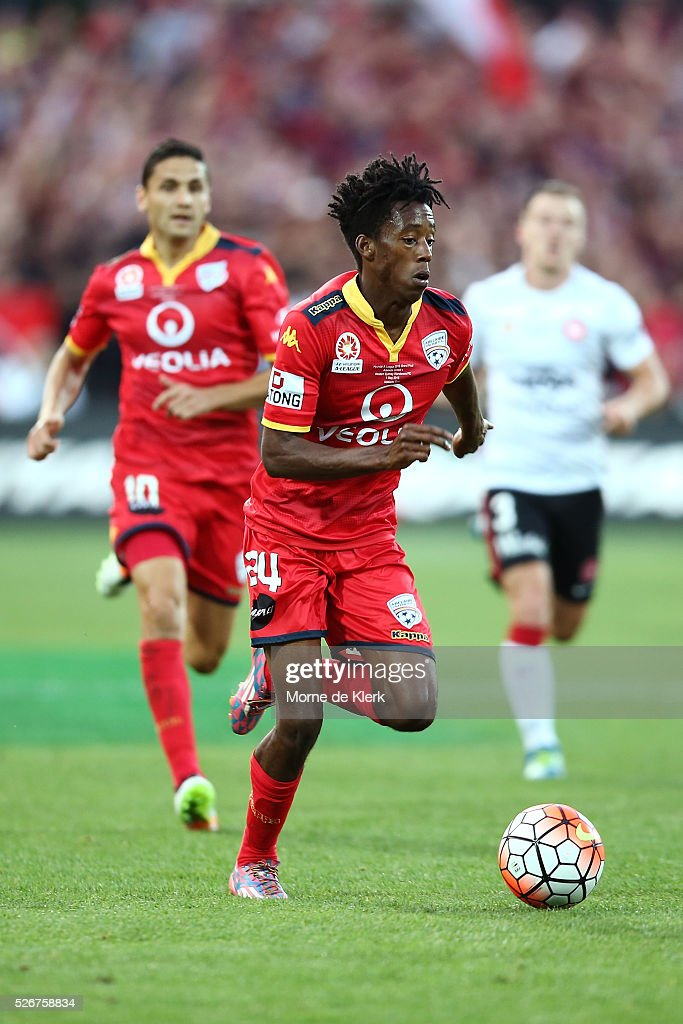Bruce Kamau of Adelaide United runs with the ball during the 2015/16 A-League Grand Final match between Adelaide United and the Western Sydney Wanderers at the Adelaide Oval on May 1, 2016 in Adelaide, Australia.