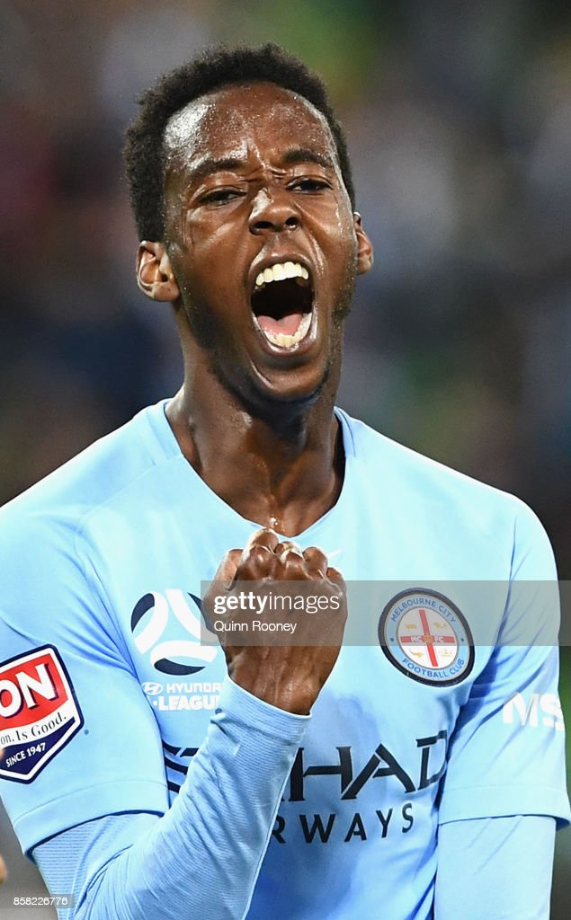 Bruce Kamau of the City celebrates scoring a goal during the round one A-League match between Melbourne City FC and the Brisbane Roar at AAMI Park on October 6, 2017 in Melbourne, Australia.