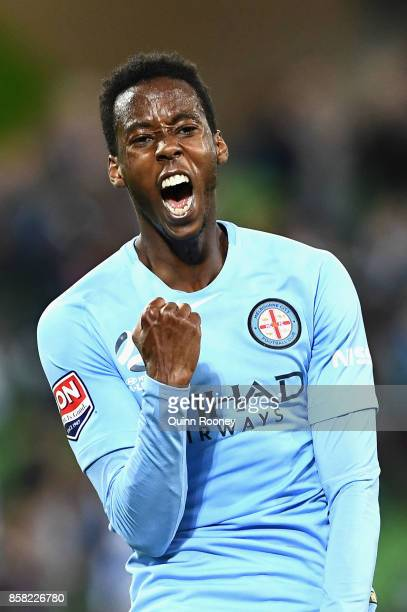 Bruce Kamau of the City celebrates scoring a goal during the round one ALeague match between Melbourne City FC and the Brisbane Roar at AAMI Park on...