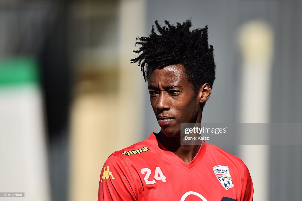 Bruce Kamau of United looks on during an Adelaide United A-League training session at Coopers Stadium on April 30, 2016 in Adelaide, Australia.