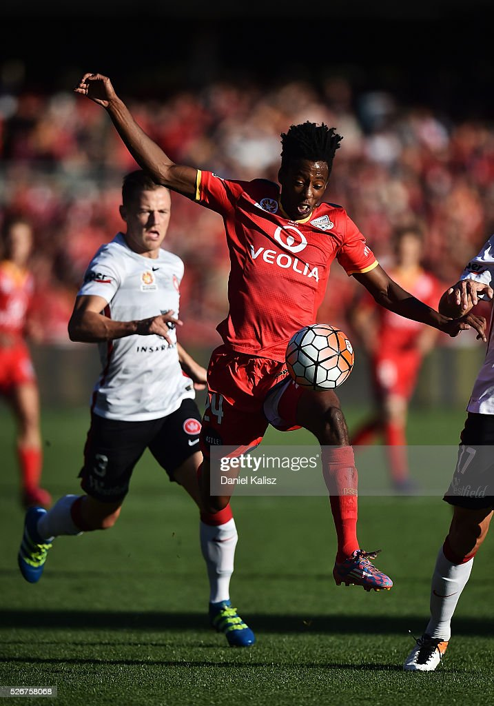 Bruce Kamau of United looks to control the ball during the 2015/16 A-League Grand Final match between Adelaide United and the Western Sydney Wanderers at Adelaide Oval on May 1, 2016 in Adelaide, Australia.