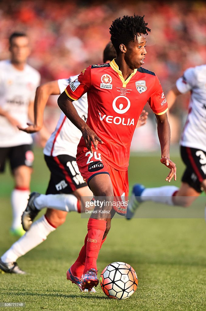 Bruce Kamau of United looks to pass during the 2015/16 A-League Grand Final match between Adelaide United and the Western Sydney Wanderers at Adelaide Oval on May 1, 2016 in Adelaide, Australia.