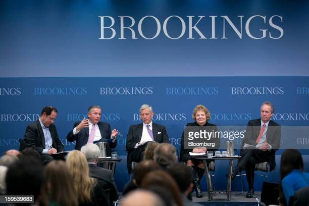 Bruce Katz vice president and director of the Metropolitan Policy Program left to right Klaus Kleinfeld chief executive officer of Alcoa Inc Dominic...