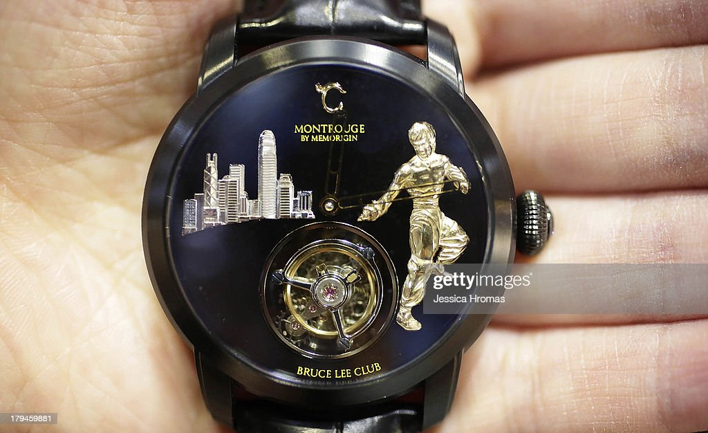 Bruce Lee Club series mens watch, one of a limited edition of one hundred and valued at USD $10,000, is displayed at the Hong Kong Watch And Clock Fair on September 4, 2013 in Hong Kong, Hong Kong.